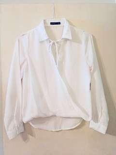 boohoo Petite white wrap tie blouse