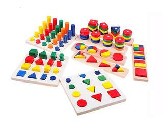 8sets of Wooden Educational Geometric Puzzles Montessori Teaching Aids Toy Set