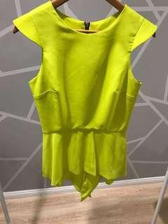 Chartreuse peplum top