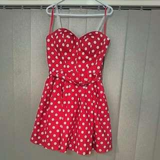Retro Strapless Mini Red And White Polka Dot Dress