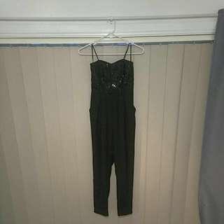 beaded Forever New Black Jumpsuit