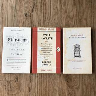 Why I Write; A Room of One's Own; The Christians and the Fall of Rome
