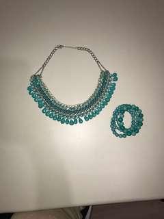 Teal boho necklace & bracelet set