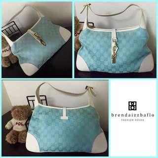 Gucci GG Canvass Jackie-O Hobo Bag Light Blue
