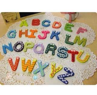 26 pc A-Z wooden alphabet letters ref fridge magnet educational toy