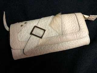 真皮 leather wallet/ clutch with strap