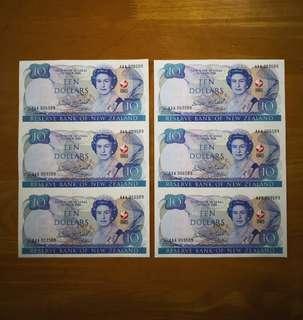 🇳🇿 1990 New Zealand $10 Commemorative Banknote Prefix AAA~Uncut Sheet Of 3