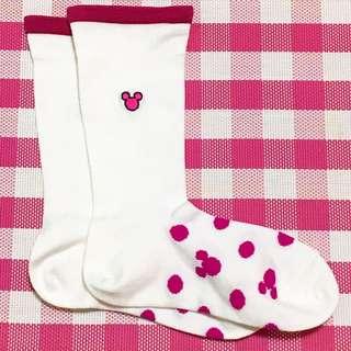 🚚 🇯🇵迪士尼 米妮粉色點點長襪
