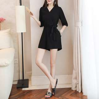 Black Coloured V-Neck Ribbon Tie 3/4 Sleeves Trendy Romper
