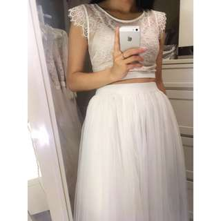 Two-piece Wedding Dress with Scalloped Cap Sleeve Lace Crop Top and White Tulle Midi Skirt #mayflashsale