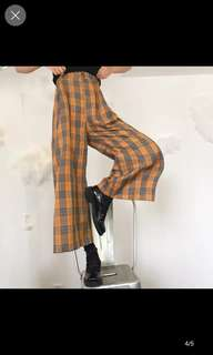 Zephyra Wide leg plaid pants