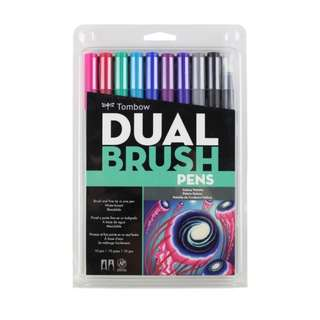 BNIB Tombow Dual Brush Pen Art Markers (10 Markers), Galaxy Palette