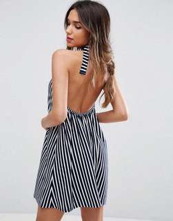 Backless hater neck stripe summer dress