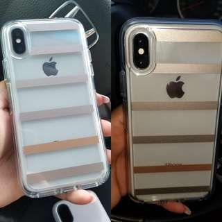 NEW iPhone X Rosegold Stripes Clear Otterbox