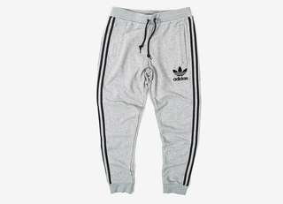Grey Adidas cuffed sweatpants