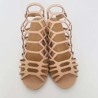 Parisian nude cage block heel sandals