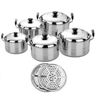 Kingko America High Pots Panci Set Steamer-Kukusan-Langseng
