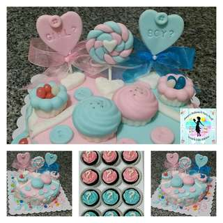 Baby Shower & Gender Reveal Party Cake & Cupcakes