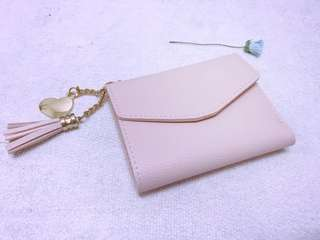 Small Wallet with Heart Tassel Charm
