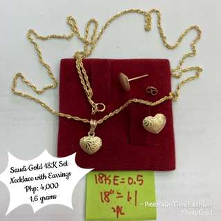 Saudi Gold 18k Set (Necklace with Earrings)