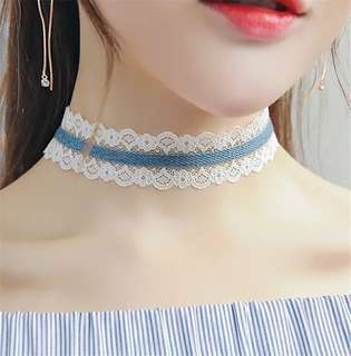 🦋Denim blue white lace dainty choker