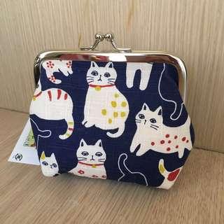 🚚 日本貓咪扣環零錢包(大)藍色