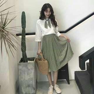 Scarf+ White Shirt + Green Dress Set