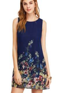 Floral print navy-blue Dress - In Stocks & new arrival - sizes:S,M,L