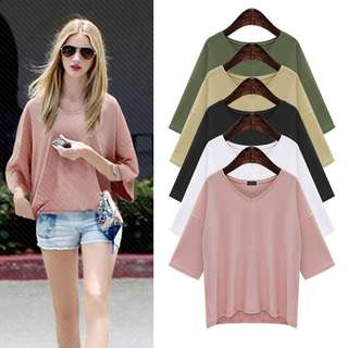 (M - 6XL) V-neck T-shirt large size loose sleeves top