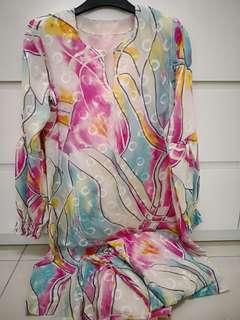 Baju kurung half silk
