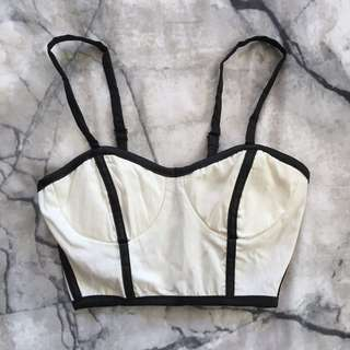 White and black bustier crop XS