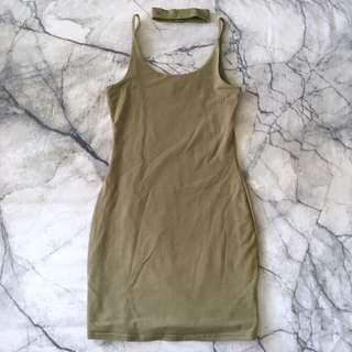 Khaki bodycon dress size 6