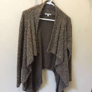 Brown waterfall chunky cardigan