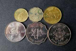 1997年紀念硬幣(共6枚)