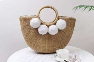 Customizable Pom Pom Straw Bag