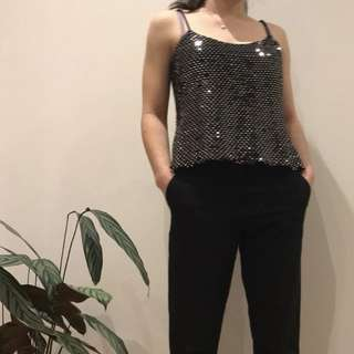 Thrifted sparkly black and white top