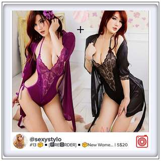 #13 📦◾[ 🅿re🅾rder ]◾📦New Women Sexy Lingerie Satin Lace Kimono Intimates Sleepwear Robe With Belt Set Nightgown Set Plus Size