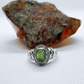 Green Tourmaline & White Sapphire Ring, Size 9 US, Silver Rhodium