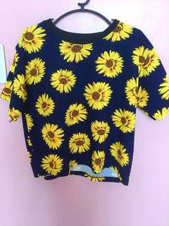 Sunflower semi cropped blouse