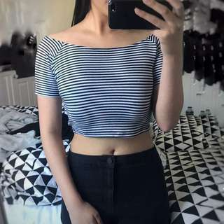 White Striped Off-shoulder Crop