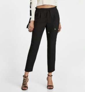 Zara Black Jogging Waist Trousers - Medium