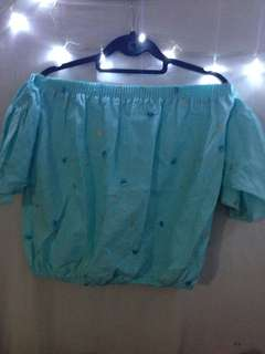 Off shoulder light blue