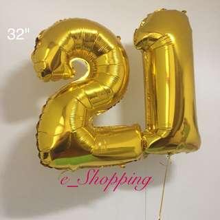 Number 21 Foil Balloon Set