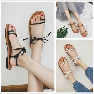 時尚綁帶羅馬涼鞋(2色)