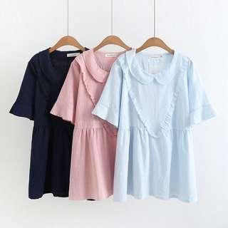(XL - 4XL) collar large V-neck loose short-sleeved T-shirt baby shirt