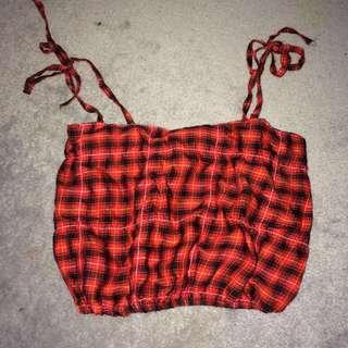 Red Tartan Crop Top From Cheep