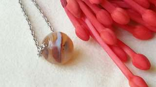 Natural agate necklace , sphere size 8 mm diameter, 天然瑪瑙項鏈
