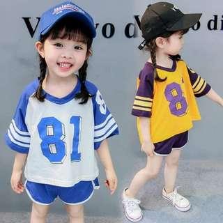 女童數字81休閒套裝 NT$250元/套,預訂, 顏色:藍,黃