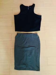 Sm Woman Black crop top / cotton on striped pencil skirt / terranova military green pencil skirt