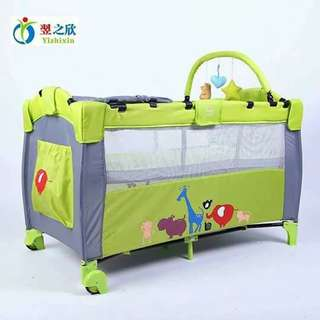 6in1 Portable crib ( Big size Good quality).  Pwd folding  , folding size : 80x25x25cm    2color  green  pink  size : 125x65x78cm 0-5years old kaya